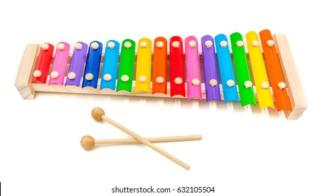 Colorful 15 tone toy xylophone made of metal and wood (glockenspiel)