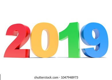 Colorful 2019 calendar background - Happy New Year - 3D render
