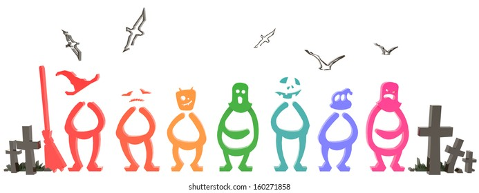 Colorful 3D Halloween people and ghost symbol in white background