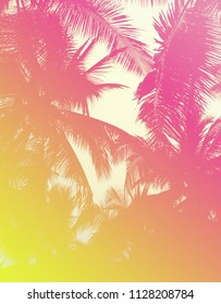 Colorful 90s/80s Style background texture of tropical palm leaves with a yellow and pink neon gradient