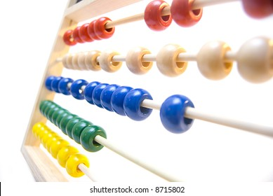A colorful abacus on a white background.