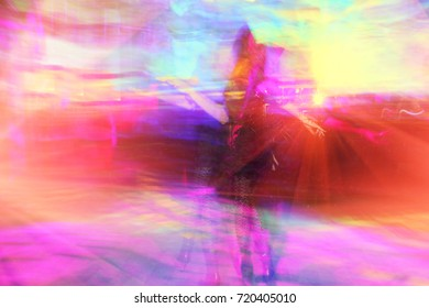 Colorful abstract background with dancing people