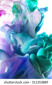 Colorful abstract composition with Liquids. Interesting shapes, patterns, rich textures, color mixing, fluidity. Space for text. Orange, yellow and green color drop.  Isolated on white background.