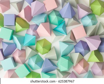 Colorful abstract geometric background with three-dimensional solid figures. Pyramid Dodecahedron prism rectangular cube arranged on white paper.