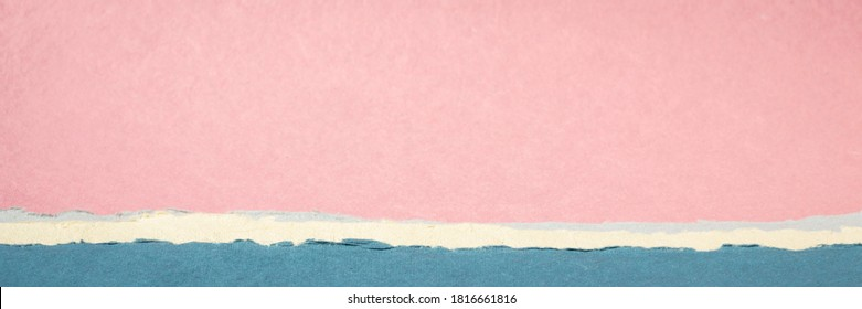 colorful abstract landscape in pastel pink and blue tones - a collection of colorful handmade Indian papers produced from recycled cotton fabric, web banner