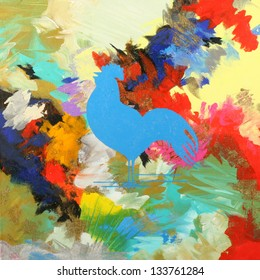 Colorful Abstract Painting with a Blue Rooster