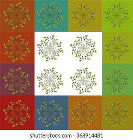 A colorful abstract pattern on a check background.