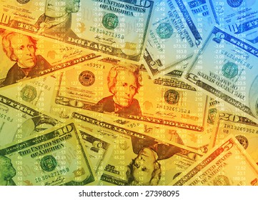 A colorful abstract pile of money on the ground with financial calculations on top  of the money.