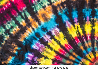 Colorful Abstract Psychedelic Tie Dye Swirl Design with black fan stripes Pattern.