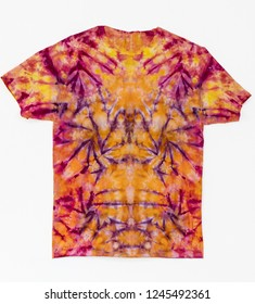 Colorful Abstract Tie Dye Shirt on White Background