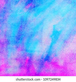 colorful abstract water color on paper, pink blue background