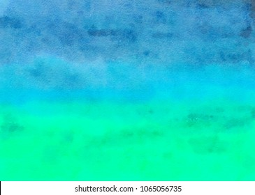 Colorful Abstract Watercolor Blue Green Teal Turquoise Background