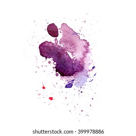 Colorful abstract watercolor stain with splashes and spatters. Modern creative background for trendy design.