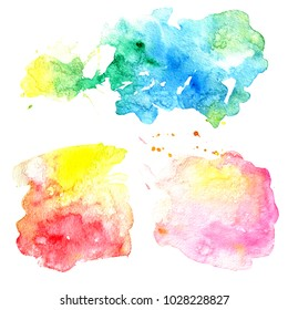 Colorful abstract watercolor texture stain with splashes and spatters. Hand painted