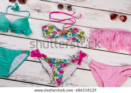 Colorful Accessories Bathing Different Swimming Costumes Stock Photo