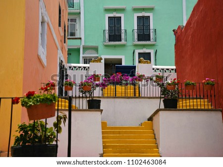 Colorful adobe houses with stucco walls and geranium flower pots on Avenida Hidalgo in Atlixco, Puebla Mexico.