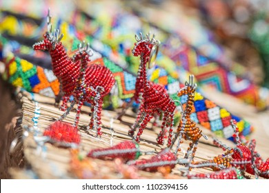 Colorful African bead art shallow depth of field