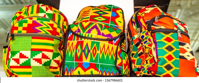 Colorful African fashion bags in street market ,Africa