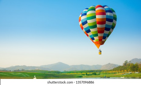 Colorful air balloons flying in sky