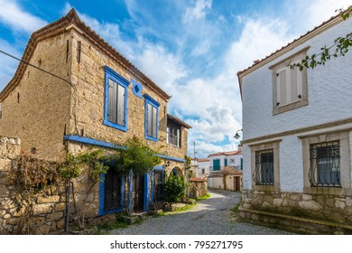 Colorful Alacati Houses view in historical Alacati Town. Alacati is populer tourist destination in Turkey.