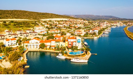 Colorful Alacati Port Houses drone view in Cesme Town. Alacati is populer tourist destination in Turkey