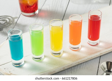 Colorful Alcoholic Rainbow Shots REady to Drink