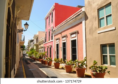 Colorful alley in Old San Juan, Puerto Rico