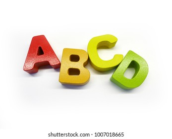 Colorful alphabet ABC on white background, kids learning concept