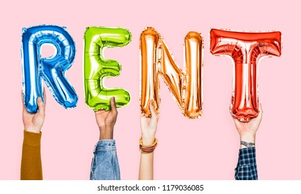 Colorful alphabet balloons forming the word rent