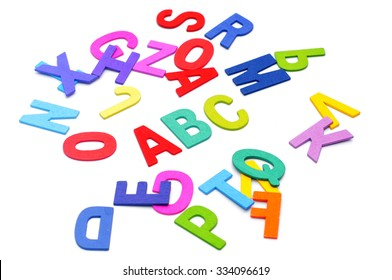Colorful alphabet blocks of ABC word over white background