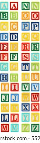 Colorful alphabet blocks with letters A through Z.