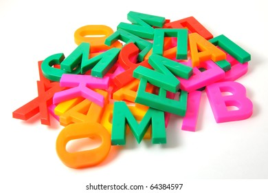 Colorful alphabet letters on a white background