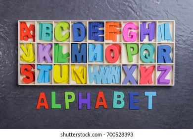 Colorful Alphabet Letters in Wooden Box