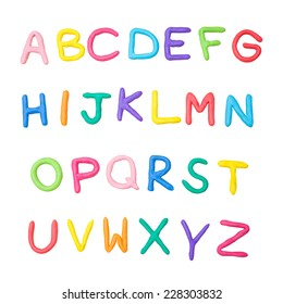 colorful alphabet made from plasticine