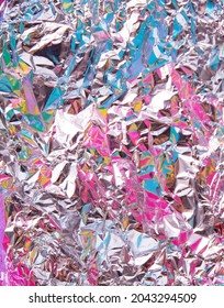 Colorful aluminium foil  background. Minimal abstract flat lay concept. Creative modern texture.