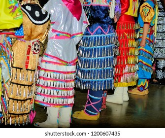 Colorful American Indian Jingle dresses.