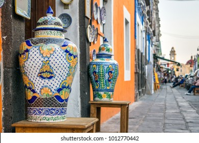 Colorful Antique Vases Outside Old Shop in the Historic City Center of Puebla, Mexico