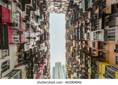 Colorful apartment building at Quarry Bay, Hong Kong