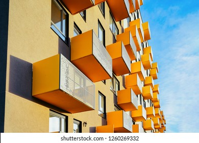 Colorful apartment home and house modern residential building architecture concept. Place for a copy space. Blue sky