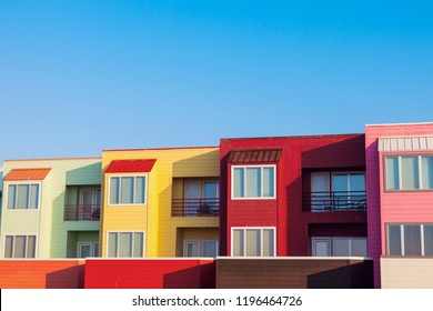 Colorful apartments by the beach in Galveston, Texas. Galveston, Texas, USA.