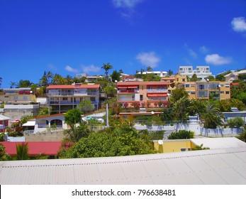 Colorful apartments of the neighborhood of Porte de Fer, Noumea, South coast of New Caledonia main island.