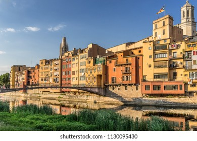 Colorful apartments on the River Onyar in Girona Castalonia Spain