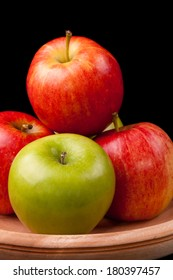 Colorful Apples Red and Green in wood bowl
