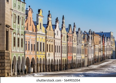 Colorful arcade in Telc in winter, Czech Republic. Travelling historic cities in Central Europe