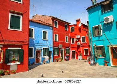 Colorful architecture of the Burano island near the Venice in Italy