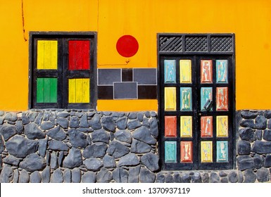 Colorful architecture of Cape Verde islands, Africa