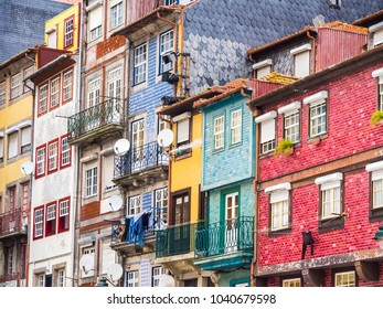 Colorful architecture in the Old Town of Porto in Portugal