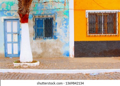 Colorful architecture and palm tree, Cape Verde, Africa