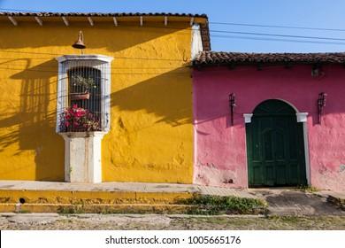 Colorful architecture of Suchitoto. Suchitoto, Cuscatlan, El Salvador.