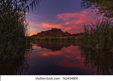 Colorful Arizona sunset over the Lower Salt River
